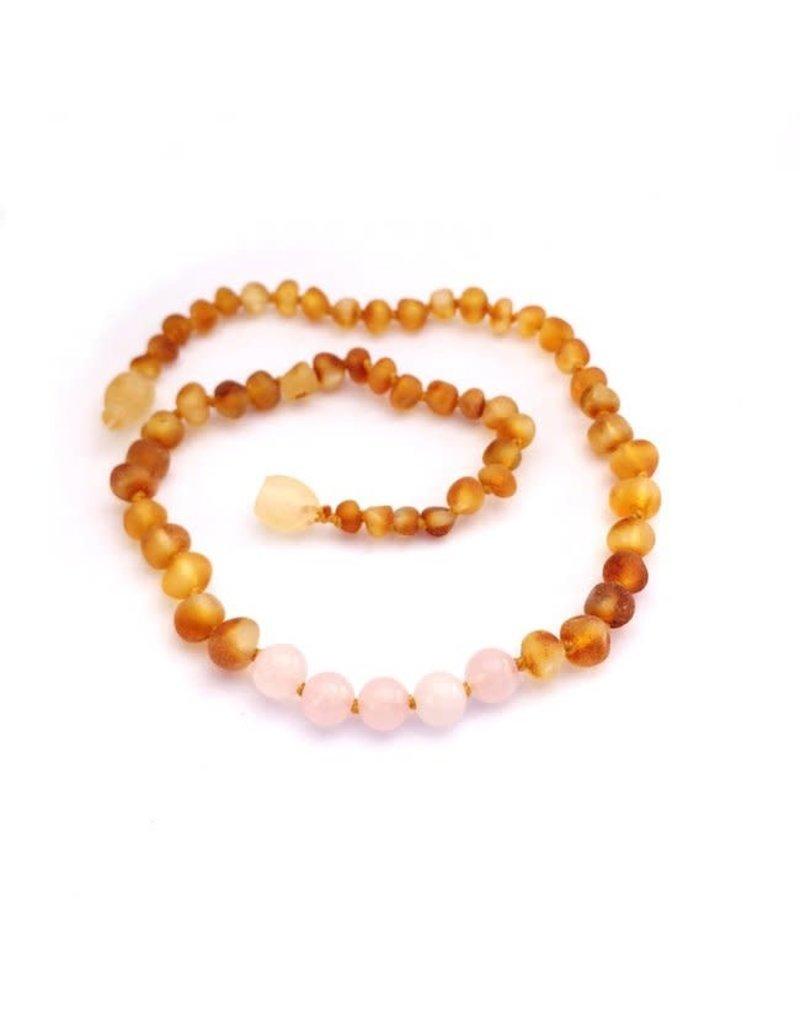 Momma Goose momma goose amber + gemstone baby necklace - raw honey/rose quartz