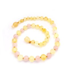 Momma Goose momma goose raw lemon amber + rose quartz baby necklace