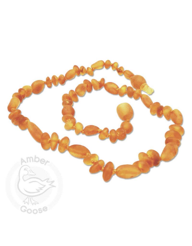 Momma Goose momma goose raw honey amber olive/baroque baby necklace