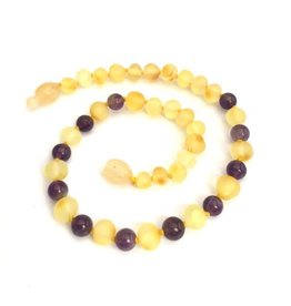 Momma Goose momma goose raw lemon amber + amethyst baby necklace
