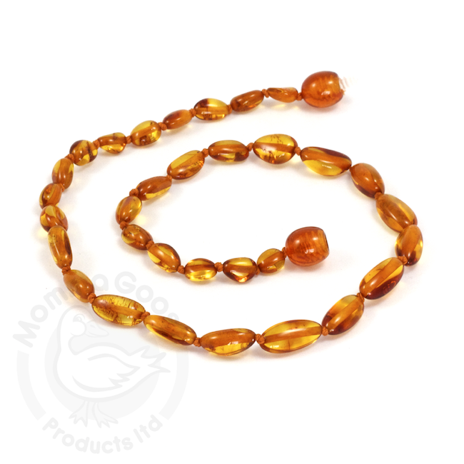 """Momma Goose momma goose cognac amber olive child necklace 15"""""""