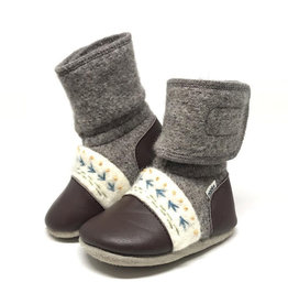 Nooks Design nooks design felted wool booties - embroidered caribou