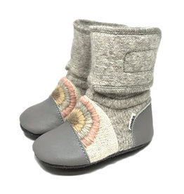 Nooks Design nooks design felted wool booties - embroidered rainbow moon