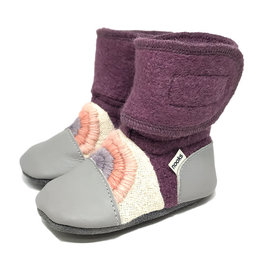 Nooks Design nooks design felted wool booties - embroidered dream on