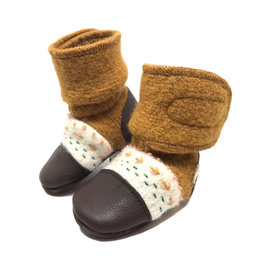 Nooks Design nooks design felted wool booties - embroidered golden spruce
