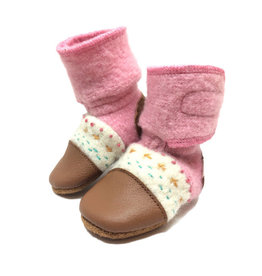 Nooks Design nooks design felted wool booties - embroidered pink abalone