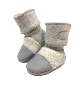 Nooks Design nooks design felted wool booties - embroidered narwhal