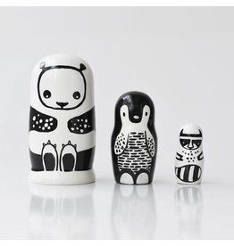 Wee Gallery wee gallery nesting dolls - black & white animals
