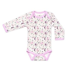 Apple Park apple park organic layette raccoon girl long sleeve onesie