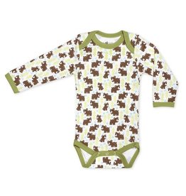 Apple Park apple park organic layette snow bear long sleeve onesie
