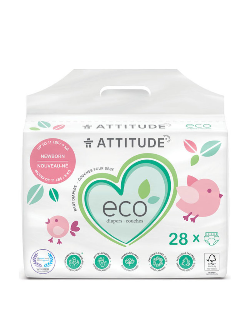 Attitude attitude biodegradable newborn baby diapers 28pk