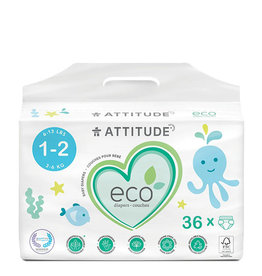 Attitude attitude biodegradable size 1-2 baby diapers 36pk