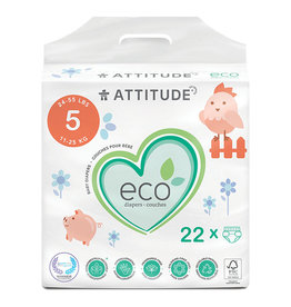 Attitude attitude biodegradable size 5 baby diapers 22pk