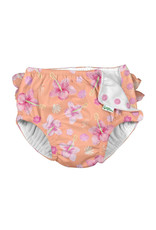 green sprouts ruffle snap swimsuit diaper - coral hibiscus