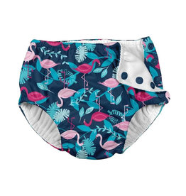green sprouts snap swimsuit diaper - navy flamingos