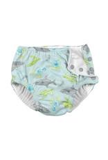 green sprouts snap swimsuit diaper - light aqua shark sealife