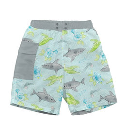green sprouts swim diaper trunks - aqua shark sealife