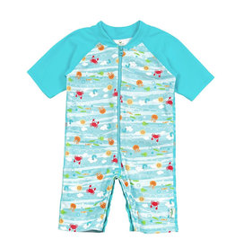 green sprouts one piece swim sunsuit - light aqua sea friends