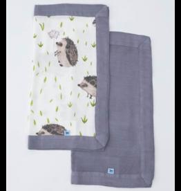 Little Unicorn little unicorn deluxe muslin security blankets - hedgehog + charcoal