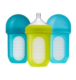 Boon boon nursh 8oz silicone bottle 3pk - blue multi