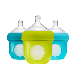 Boon boon nursh 4oz silicone bottle 3pk - blue multi