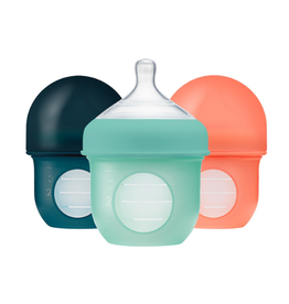 Boon boon nursh 4oz silicone bottle 3pk - mint/canta