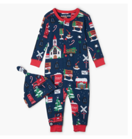 Hatley hatley navy christmas village baby coverall & hat