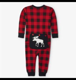 Hatley hatley moose on plaid baby union suit