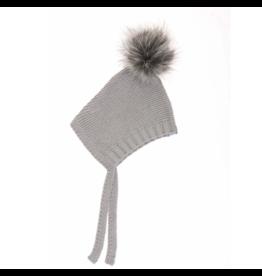 beba bean pom pom hat in grey