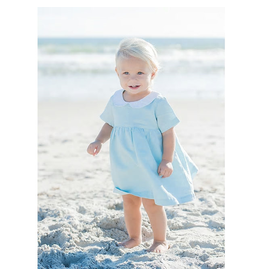 beba bean linen party dress in blue