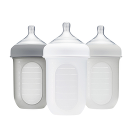 Boon boon nursh 8oz silicone bottle 3pk - grey multi