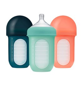Boon boon nursh 8oz silicone bottle 3pk - mint/canta