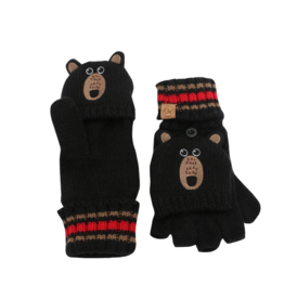 Flapjacks flapjacks knitted fingerless gloves w/flap - black bear