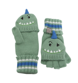Flapjacks flapjacks knitted fingerless gloves w/flap - dino