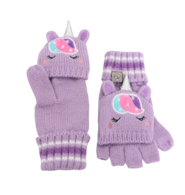 Flapjacks flapjacks knitted fingerless gloves w/flap - unicorn