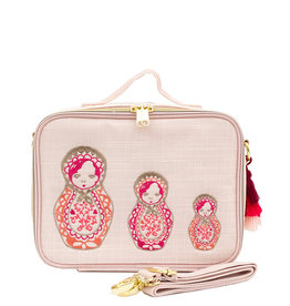 SoYoung soyoung pink linen lunch box - embroidered dolls