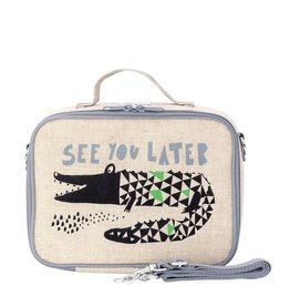 SoYoung soyoung raw linen lunch box - wee gallery alligator