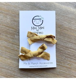 Miminoo miss mimi by miminoo hair clip bows 2pk - mustard