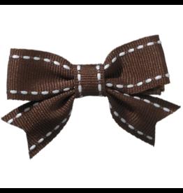 no slippy hair clippy abby top stitch bow - dark brown