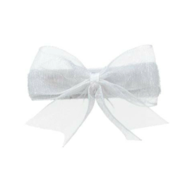 no slippy hair clippy audrey organza baby bow - white