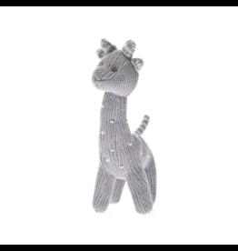 beba bean knit polka dot giraffe rattle in grey