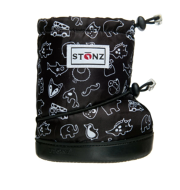 stonz all-weather booties - black stonz print