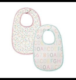 Pehr Designs pehr designs bib 2pk - multi dots/alphabet