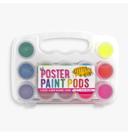 Ooly ooly lil paint pods neon + glitter poster paint - set of 12 with brush