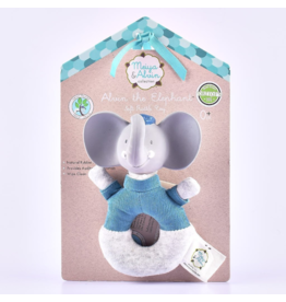 Tikiri tikiri alvin the elephant soft rattle with natural rubber head