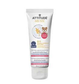 Attitude attitude natural baby 2-in-1 shampoo + body wash - unscented 200 ml