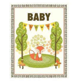 Yellow Bird Paper Greetings yellow bird paper greetings - fox shower baby card
