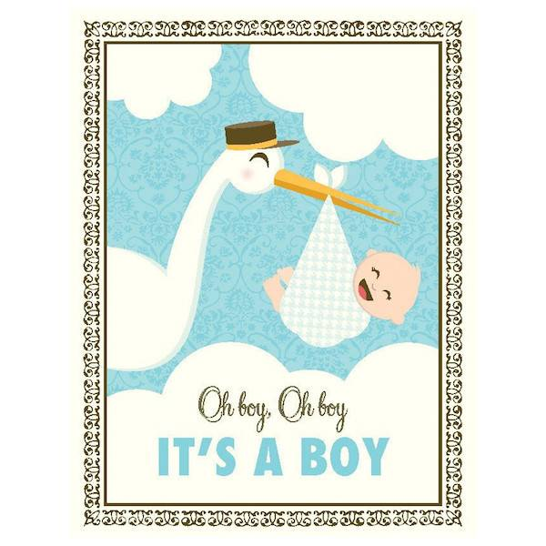 New Baby Card Blue Stork It S A Boy By Yellow Bird