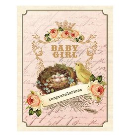Yellow Bird Paper Greetings yellow bird paper greetings - vintage nest girl baby card