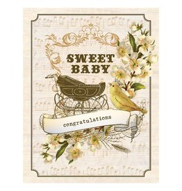 Yellow Bird Paper Greetings yellow bird paper greetings - vintage baby buggy card